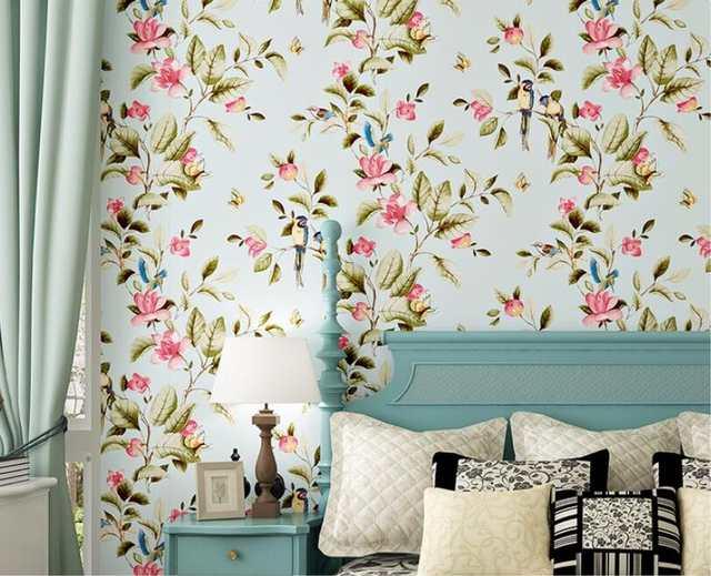 Beibehang Birds Trees Flowers Chinoiserie Wallpaper Rolls Vintage