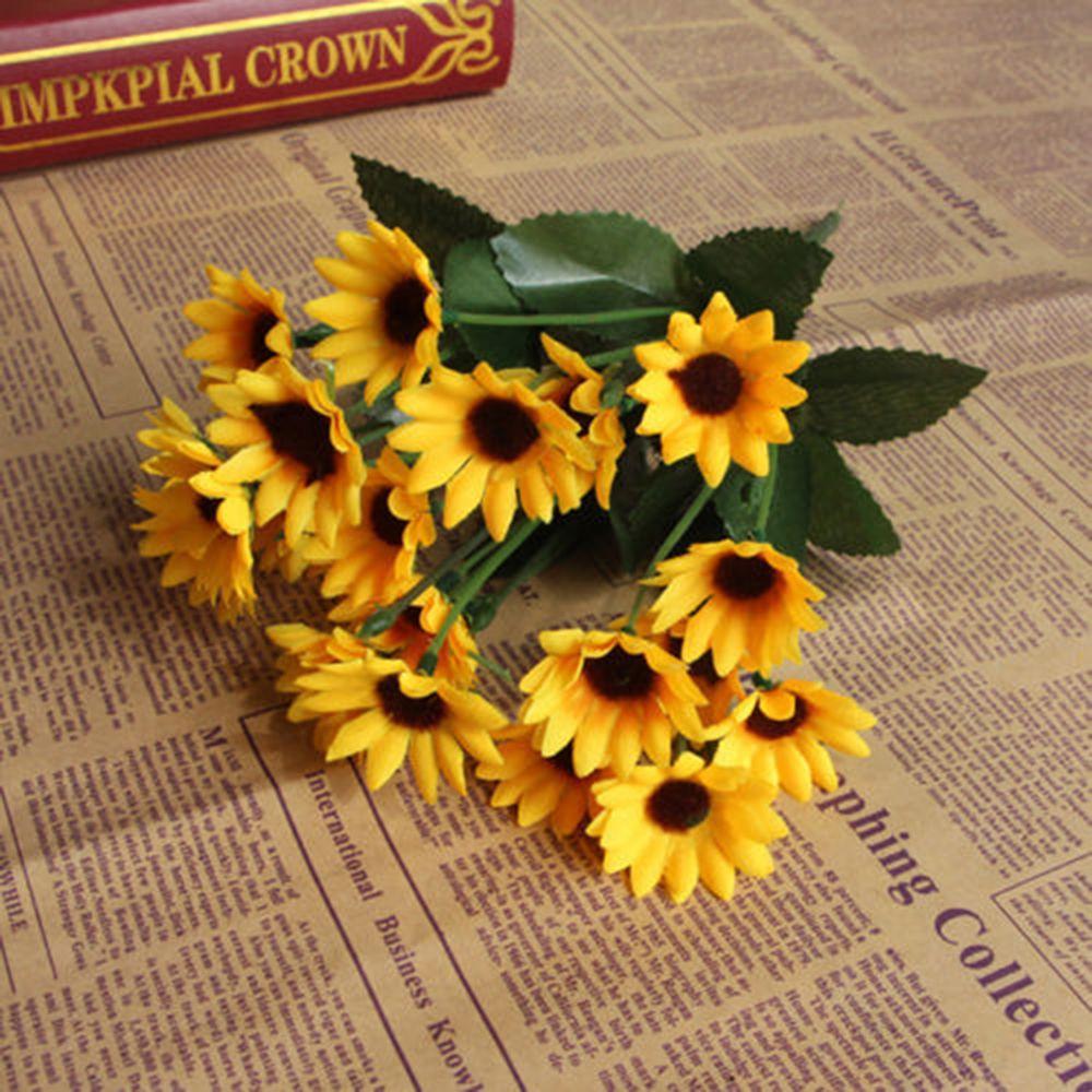14 Head Fake Sunflower Artificial Silk Flower Bouquet Home Wedding