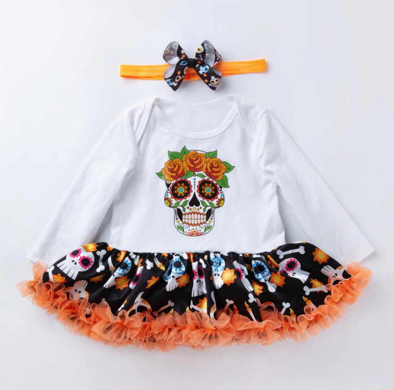 Лидер продаж; комбинезон; платья для новорожденных; костюмы на Хэллоуин; комбинезон с принтом тыквы и черепа; платья и наборы повязок на голову; Bebe Vestido