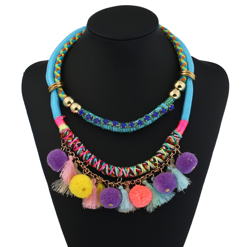 Layered Beaded Chain Tassel Necklace - Necklaces