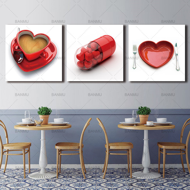 3 panel print red heart cup coffee paintings decorative pictures on