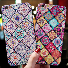 Vintage flower rhombic totem Emboss case Cover For Iphone XS MAX XR X 7 8 Plus 6 6s