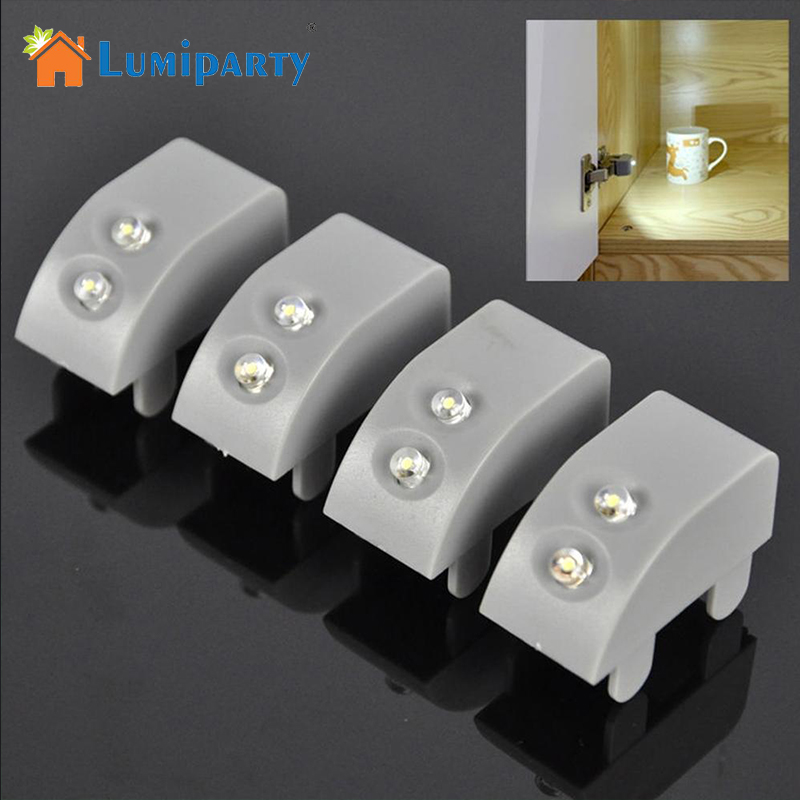 LumiParty Universal Cabinet Door LED Hinge Attached Lights for Kitchen Wardrobe Closet Including Button Battery Night Lights