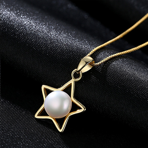 S925 sterling silver item five pointed star jewelry natural pearl pendant necklace accessories