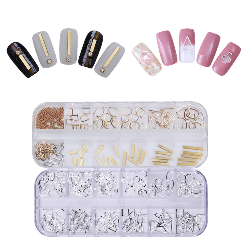 Nail Art Rivets Rhinestone Rectangles Alloy Studs Gold Silver Hollow Metal Cross Triangle DIY Nail 3D Decoration 12 Compartments mini dot nail studs square gold 3d metal rivets nail art decorations rhinestones triangle silver nail tools