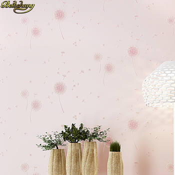 beibehang Non-woven dandelion wallpaper warm pink garden self-adhesive wallpaper children's room bedroom 3D TV background wall beibehang 53x300cm european non woven self adhesive wallpaper 3d garden pink wall paper roll bedroom living room tv background