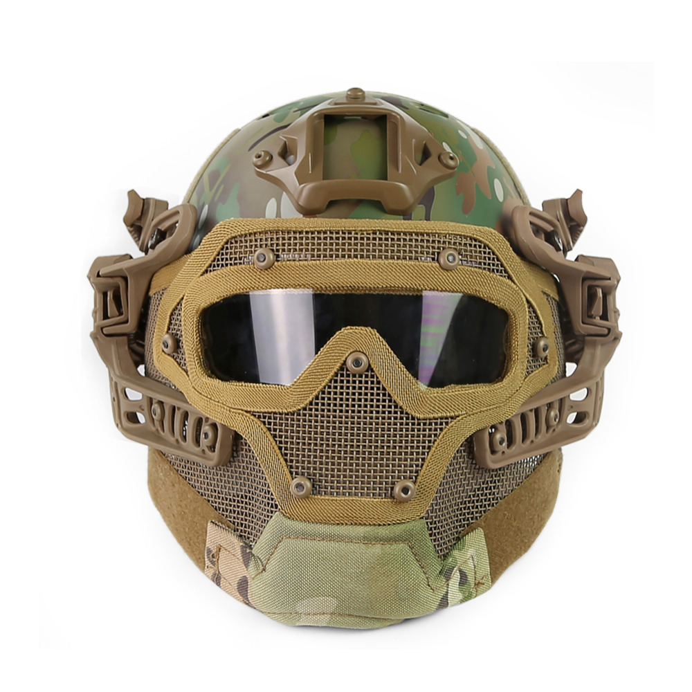 Multicam Tactical Hunting Helmet Full Face Protective Mask Goggles G4 System Airsoft Paintball Camo Helmet for Outdoor sw5888 protective abs tactical cycling wild gaming helmet camouflage yellow black