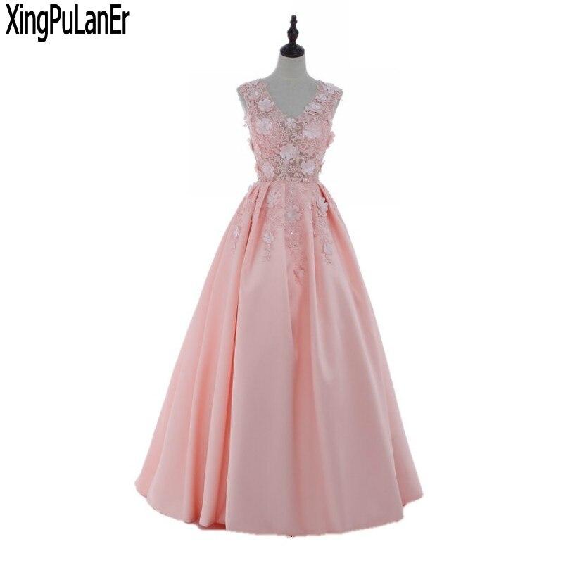 Robe de soirée une ligne col en V sans manches dos ouvert à lacets dos fleurs Appliques perle rose Satin longue robe de soirée