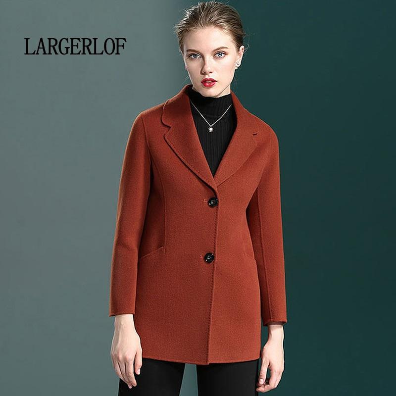 LARGERLOF Women Blazers Jackets Cashmere Plus-Size Coat Winter Simple And BR50001