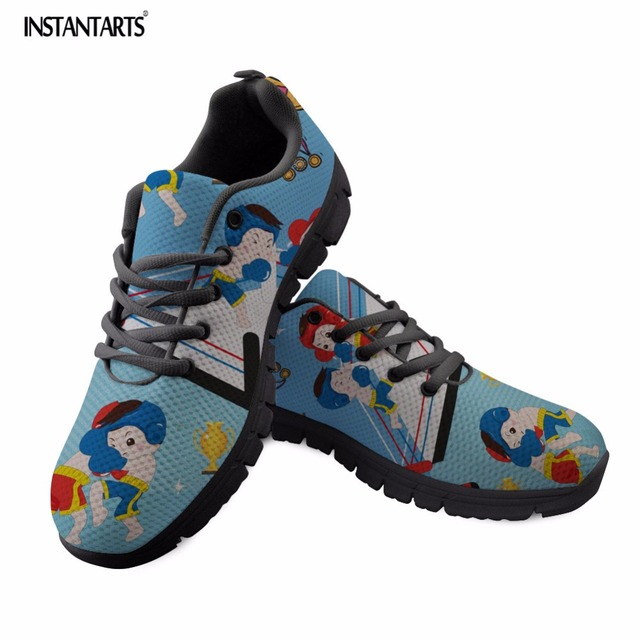 INSTANTARTS Boxing for Youth Girl Casual Shoes Cute Cartoon Pattern Women  Fashion Light Lace Up Flat Shoes Student Mesh Sneakers bdd8183c7a