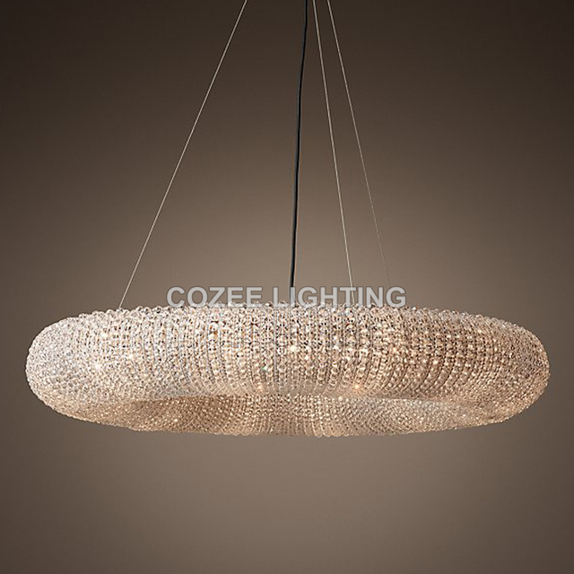 Modern Cristal Chandeliers Lighting Rh Round Crystal Chandelier Halo Hanging Light For Home Hotel Living And