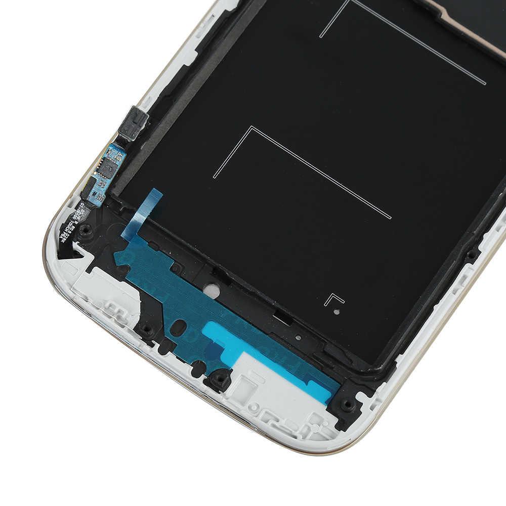 ل samsung غالاكسي S4 i9505 شاشة الكريستال السائل مجموعة المحولات الرقمية لشاشة تعمل بلمس استبدال أجزاء ل samsung s4 lcd إطار المقسى فيلم