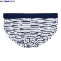 NORMEN (3 Pcs/Lots) Striped Men Briefs Cotton Breathable Sexy Underwear Comfortable Gay Underwear