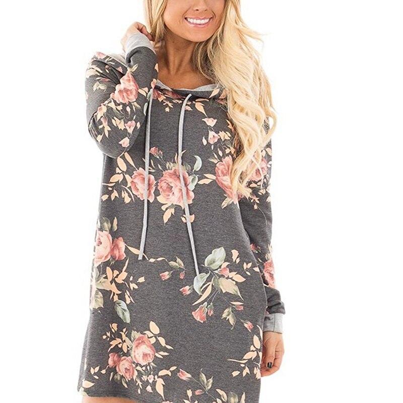 Buy Women Printed Floral Hoody Black Hoodie Long Sweatshirt Dress 2017 Bts Long Sleeve Hooded Grils Hoodies Pullovers Tumblr Female for $11.25 in AliExpress store