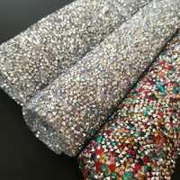 24*40 cm Hotfix harz Strass Mesh Trim Kristall Stoff Blatt Strass Appliques Banding patch Für Kleid Schmuck DIY zubehör