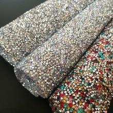 7b1b829630eb 24 40cm Hotfix resin Rhinestones Mesh Trim Crystal Fabric Sheet Strass  Appliques Banding patch For