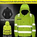 Oi vis segurança inverno térmico jaqueta com casaco de lã à prova d' água/Anti-óleo/Anti-incrustação de Teflon de segurança jaqueta frete grátis