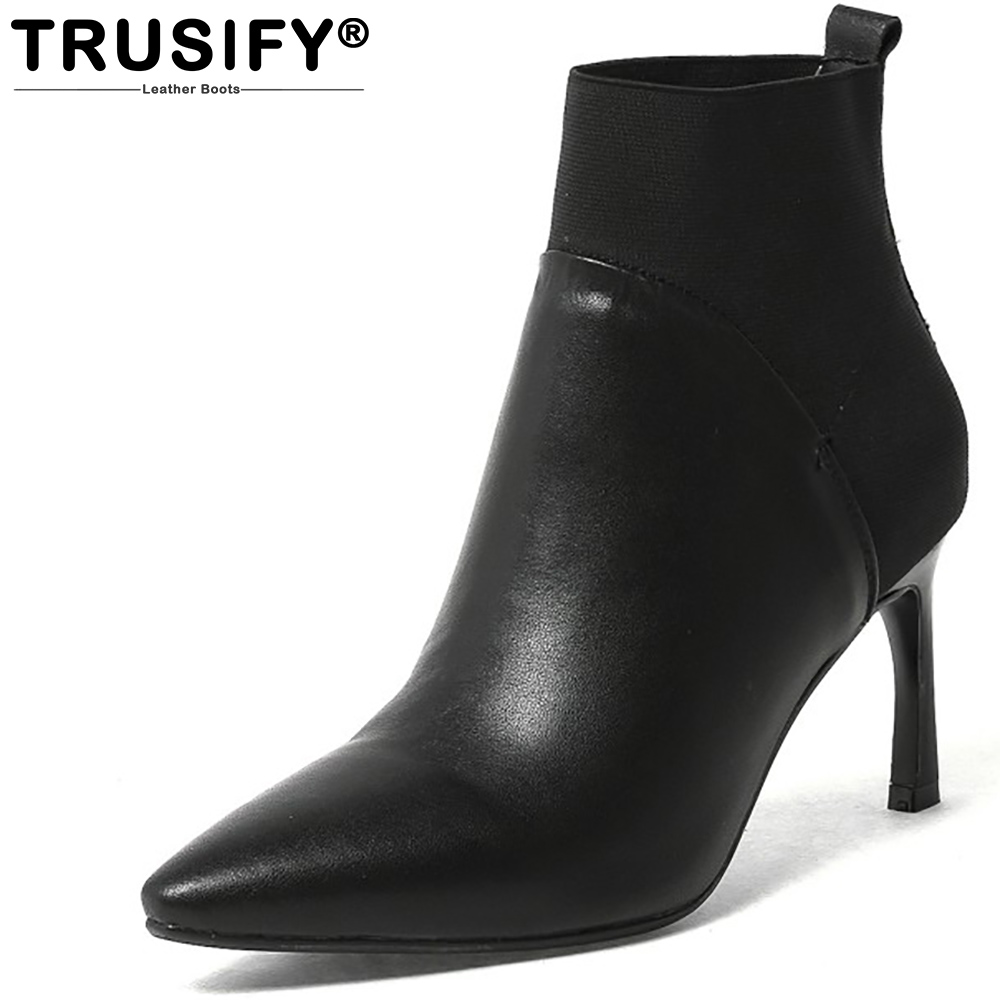 TRUSIFY 2018 Oh *architecture Cow Leather Slip On Short boots Pointed Toe High Hoof Heels Ankle boots Sexy Women Boots