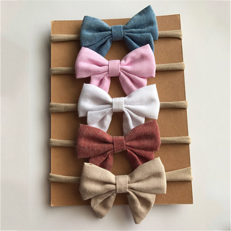 4pcs/lot 8colors Handmade Newborn Kids Bow Nylon Headbands Soft Nylon Headwear Nylon Elastic Head Band
