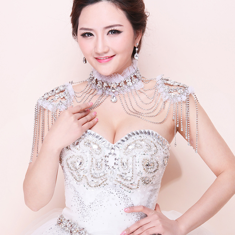 Chaîne de mariée gland bandoulière mariée perles dentelle bijoux cristal accessoires bijoux collier de mariage bijoux ensembles - 4