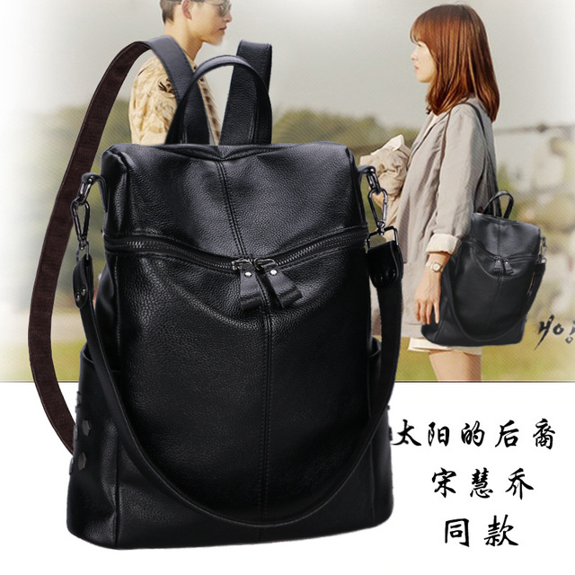 95f14d14db63 Korean Leather Backpack School season all-match explosion fashion  multifunction travelling backpack one generation