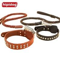 Hipidog Pet Dog Collar Da & Dây Xích trong Braided Pet Chuỗi dây Dây Xích Dẫn Set cho Big Chó Vừa Pets Đào Tạo Đi B