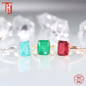 TKJ Real 925 Silver Ring Square Ruby and Emerald Ring Wedding Engagement Rings For Women Fine Jewelry Accessories Gifts