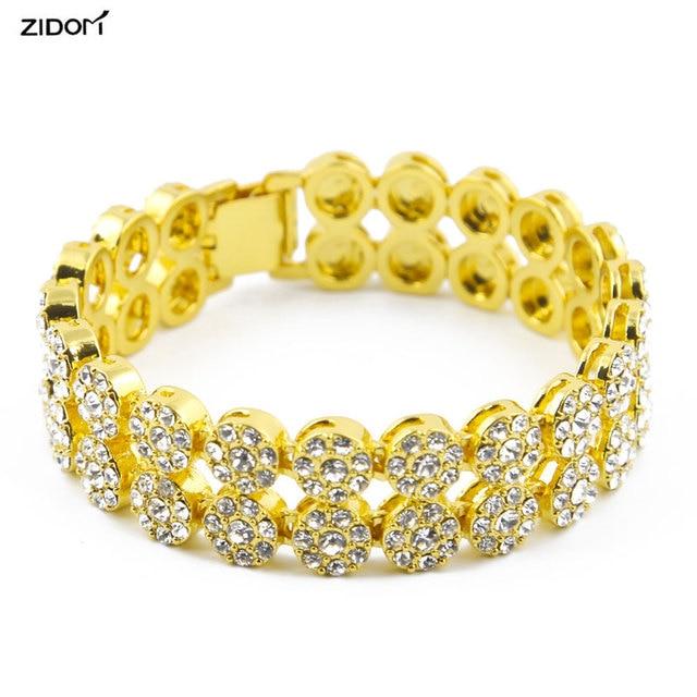 Gold Silver Color Bling 2 Row Hip Hop Bracelets Men 8 Inch Long Link Chain