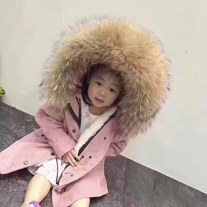 New brand fur coat children winter jacket kids corduroy large real raccoon fur collar warm natural rabbit fur lining coat 2017 winter new clothes to overcome the coat of women in the long reed rabbit hair fur fur coat fox raccoon fur collar