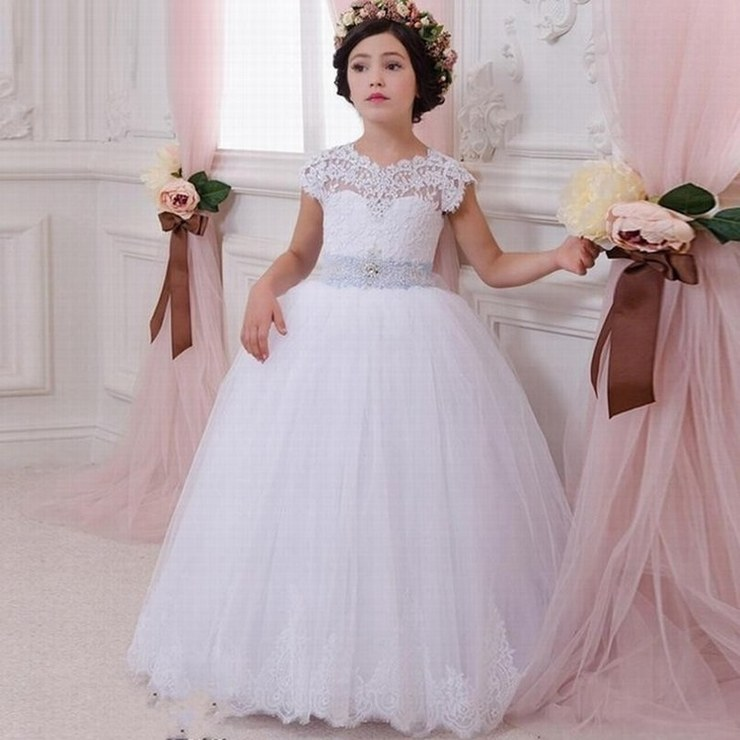 US $52.92 33% OFF|Love Wedding Lace Flower Girl Dress for Weddings First  Communion Dresses for Girls Lace up Back Ball Gown Custom Made Plus Size-in  ...