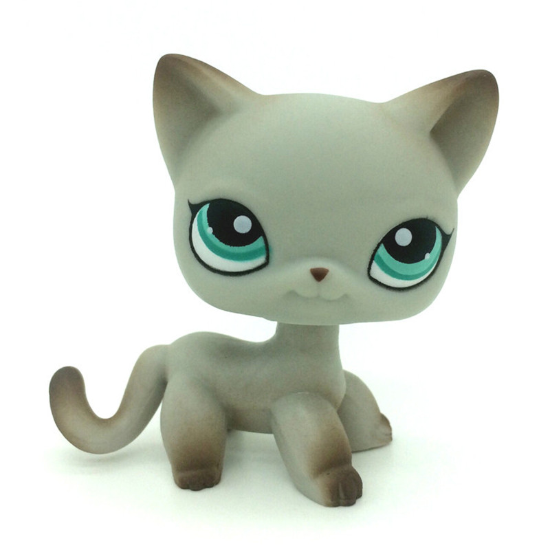 Lps pet shop Gray Short Hair Cat Kitty Green Eye Pink Ears Action Figure preschool children play toy best gift lps toy pet shop cute beach coconut trees and crabs action figure pvc lps toys for children birthday christmas gift