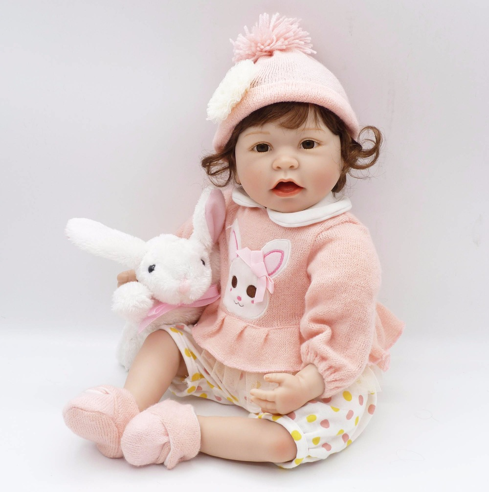 22 55cm reborn babies dolls soft body silicone reborn dolls pink sweater clothing rabbit plush doll for child gift  bonecas22 55cm reborn babies dolls soft body silicone reborn dolls pink sweater clothing rabbit plush doll for child gift  bonecas