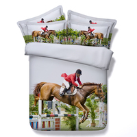 3d horse racing printed bedding sets full cal king single twin sizes kids bedspreads 3/4pc comforter cover bed linens boy 500tc
