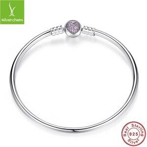 Image 2 - Pulsera de lujo con cadena de plata de ley 100% para mujer, brazalete esencial con abalorio, regalo de Navidad, 925