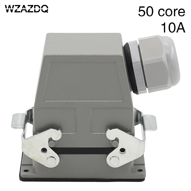 Heavy duty connector 50 core rectangular aviation plug socket hdc-hdd-50 core cold pressure connection 10A cable connection army green metal y2m 50tk 50 pin aviation connector new