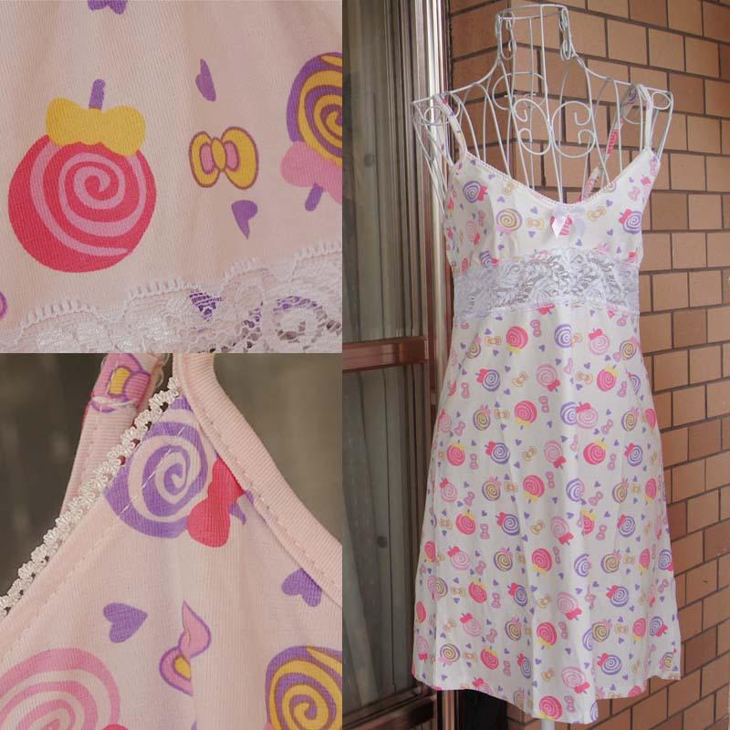 Summer female spaghetti strap 100% cotton nightgown sleepwear lounge pink one-piece dress