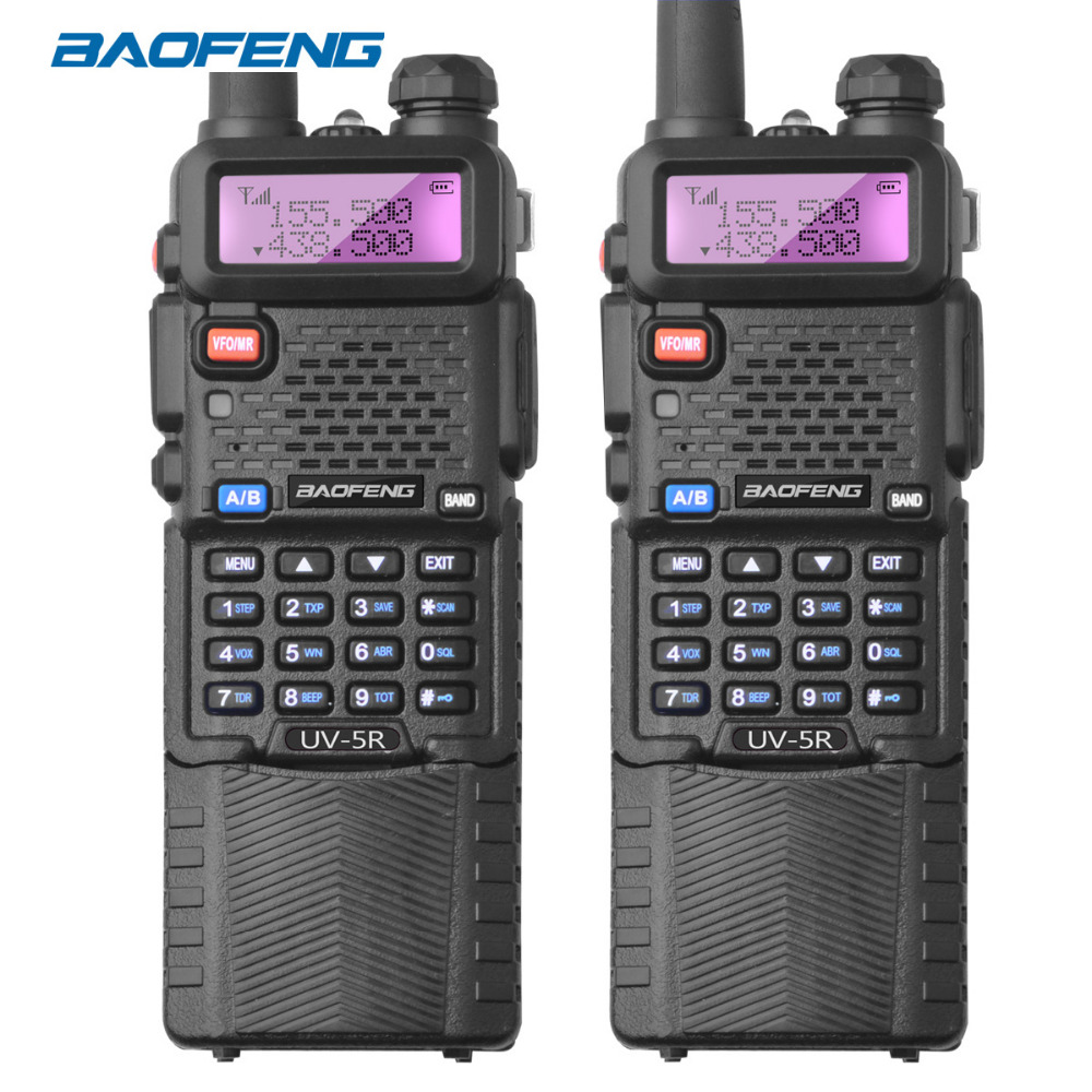2Pcs Baofeng UV-5r Radio Station 3800mAh Long Battery UV5R Walkie-talkie UHF VHF 1