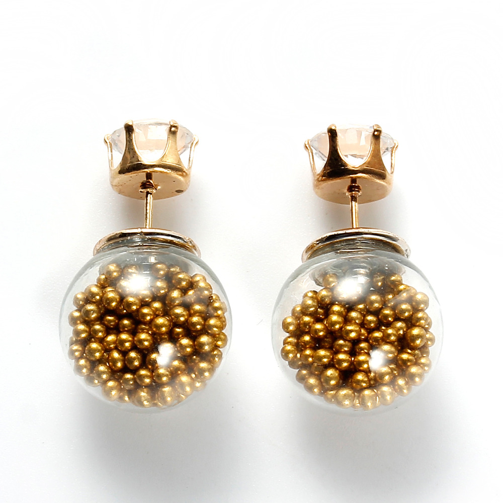 4704c55ce Doreen Box Glass Created Zircon And Ball Double Sided Stud Earrings Golden  Seed Beads Inside 9mm x9mm 17mm x16mm