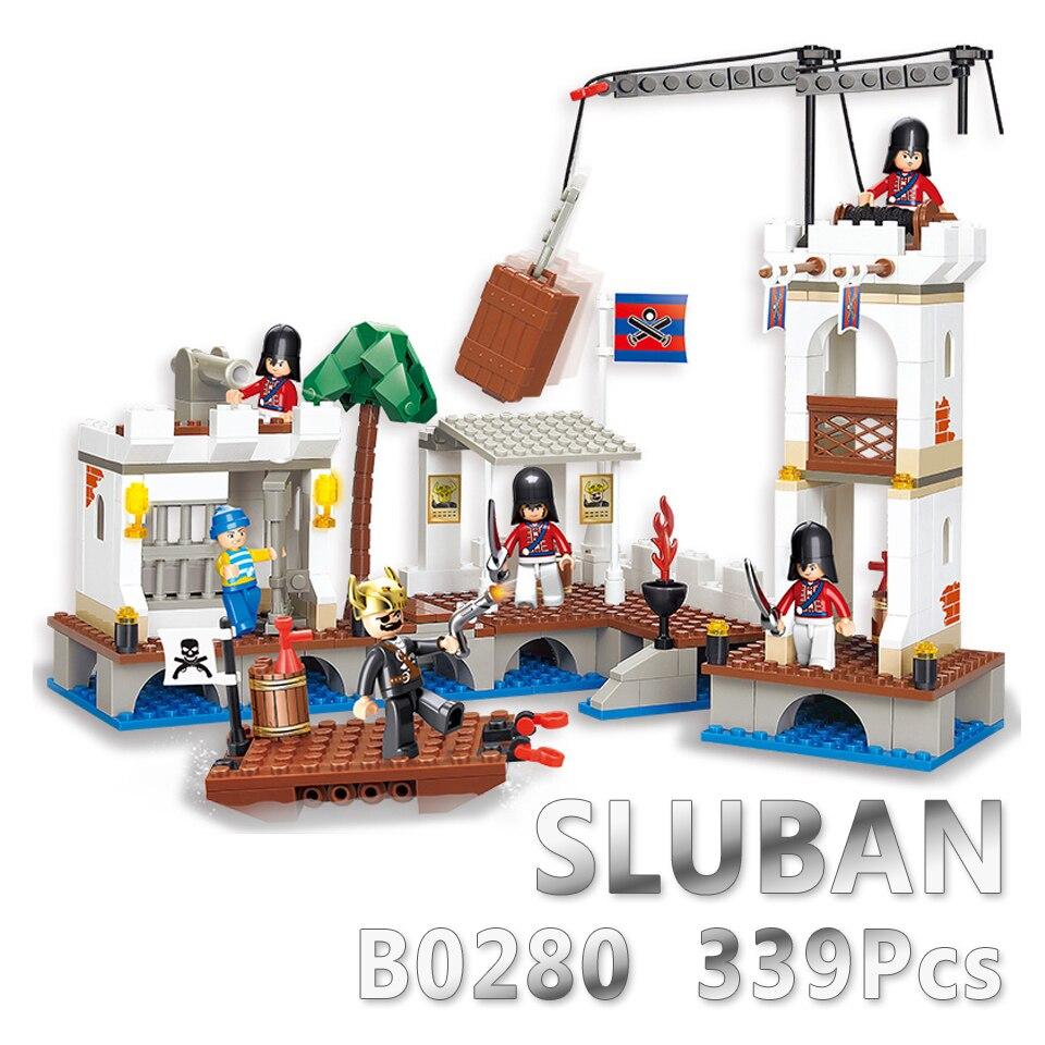 Sluban Model Building Compatible lego Lego B0280 339pcs Model Building Kits Classic Toys Hobbies Pirates Ports цена