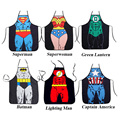 Novelty Funny BBQ Cooking Aprons Spiderman Superman Character Costume Cosplay Party Apron Hero Cosplay Bar Holiday Articles Gift