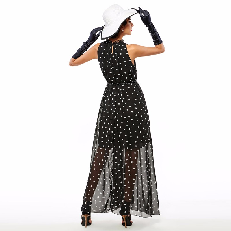 Sisjuly women maxi fashion polka dots maxi dress long casual summer beach chiffon party black dresses style elegant maxi dress 17