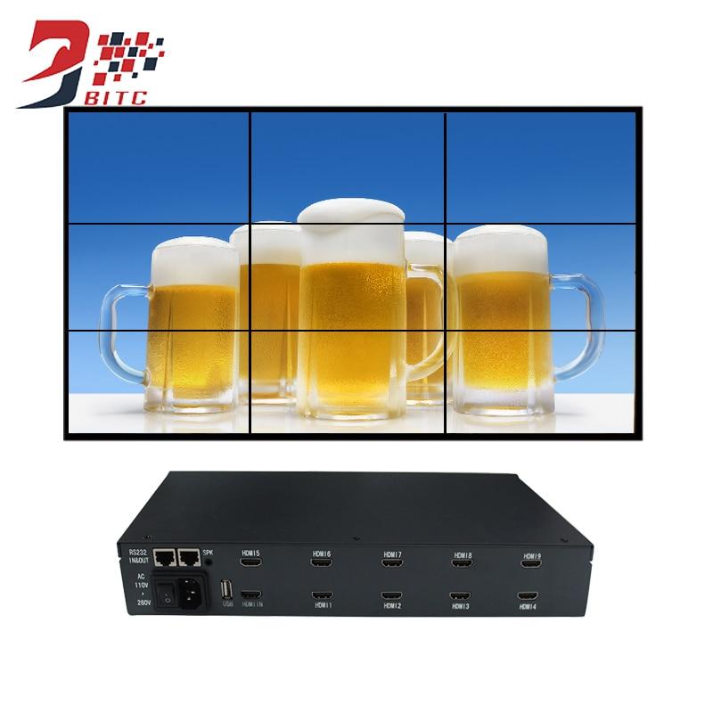 Video Wall Controller 2x2 2x3 3x3 4x2 Max 15x15 HDMI AV USB LCD Image Splicing Processor 180 Degree Rotation