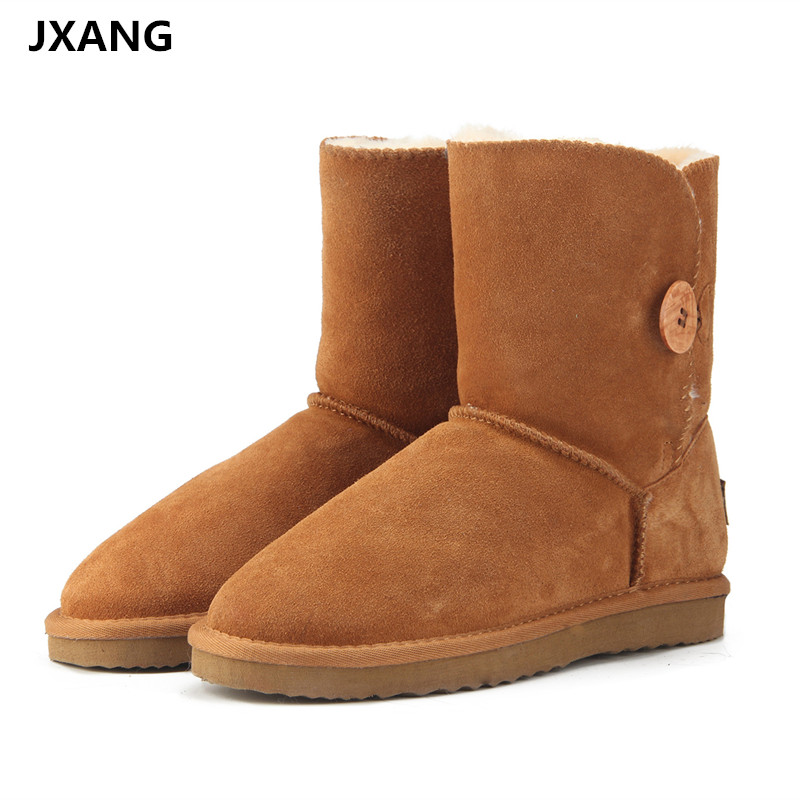 все цены на JXANG High Quality Band Snow Boots Women Fashion Genuine Leather women's Fur winter Boot with Black Red Brown UG Women boots