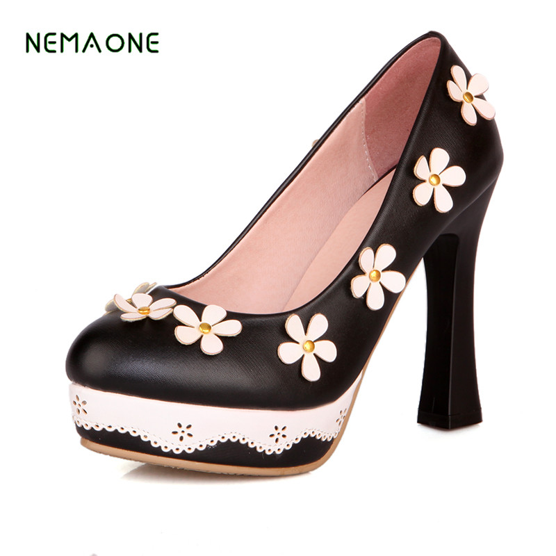 NEMAONE women square high heel shoes pointed toe patent leather spring pumps brand heeled footwear lady heels shoes size 33-43 women s geniune leather high heels shoes women pointed toe pure color high heeled pumps office lady sexy footwear size 33 40