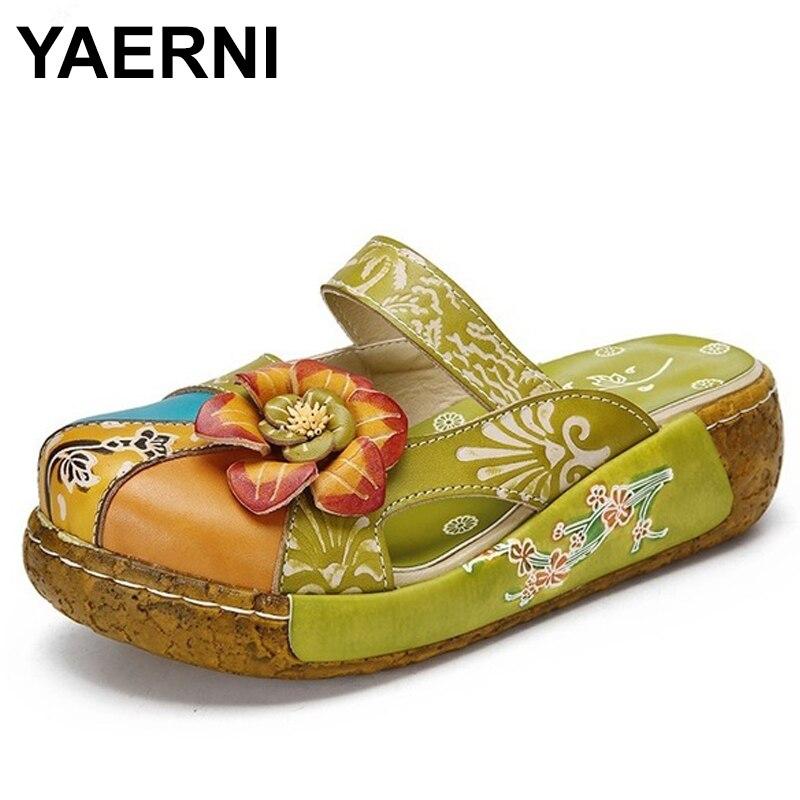 YAERNI glisse à la main en cuir véritable fleur femmes pantoufles plate-forme cale sabot tongs chaussures d'été femme E501