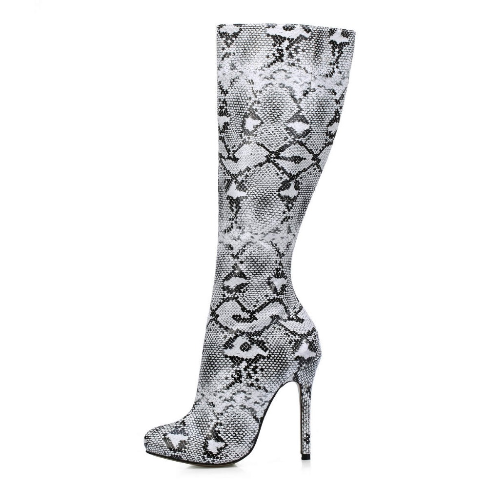 2018 autumn new fashion white black snake printed knee high boots sexy women high heels long boots big size 35-43 ladies shoes lefard сервиз bluebell 24х36 см