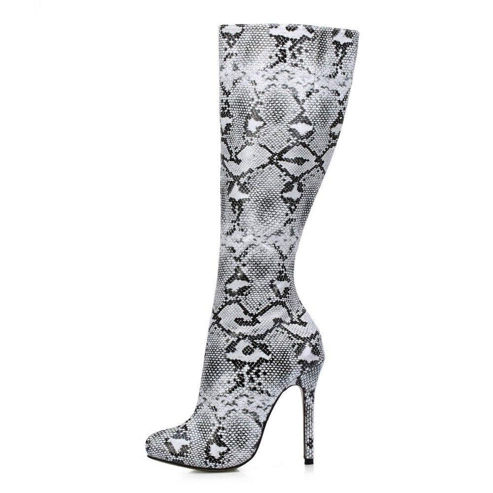 12368683805a3c 2018 jesień nowy mody biały czarny wąż drukowane buty do kolan sexy ...