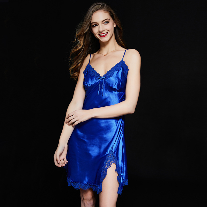 Women Silk Satin   Nightgowns     Sleepshirts   V-neck Solid 2018 Sleepwear Satin Full Slip Sleeping Wear Sexy Ladies Night Dress