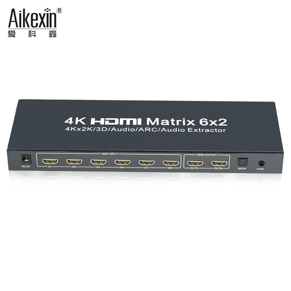 6x2 HDMI True Matrix,Aikexin HDMI Switch Splitter 6 input 2 output + SPDIF +3.5mm Audio Support 4Kx2K with IR Remote Control