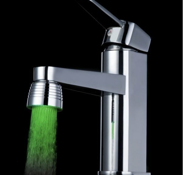 Free shipping GlowingTemperature Sensor Magic  LED Water Stream Faucet Tap 3 Color ABS chrome plating finish